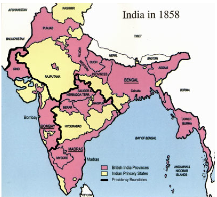 Maps - The British raj India Provinces States Map on map of india provinces, india and its states, india fertility rate by state, central british india provinces,